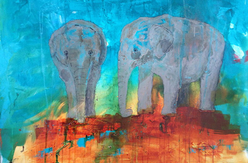 A painting of two elephants, one front view and one sideways, by John Baran.
